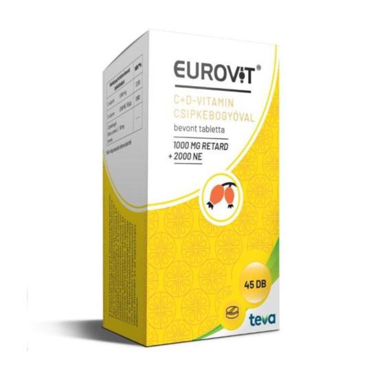 Eurovit C-vitamin 1000 mg + D-vitamin 2000 NE + csipkebogyóval bevont tabletta 45x