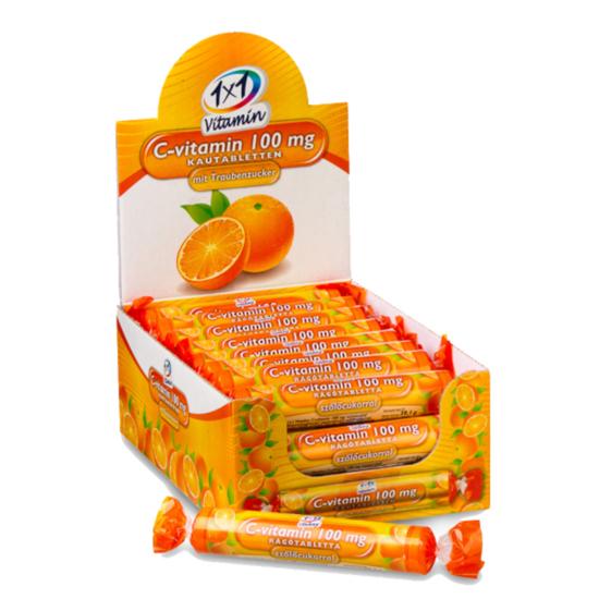 1X1 Vitaday C-vitamin 100mg narancsízű rágótabletta 17x